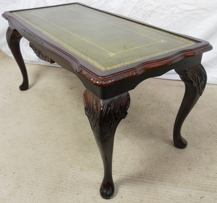 Coffee Table With Leather Top: Green Leather Top Long Mahogany Coffee Table